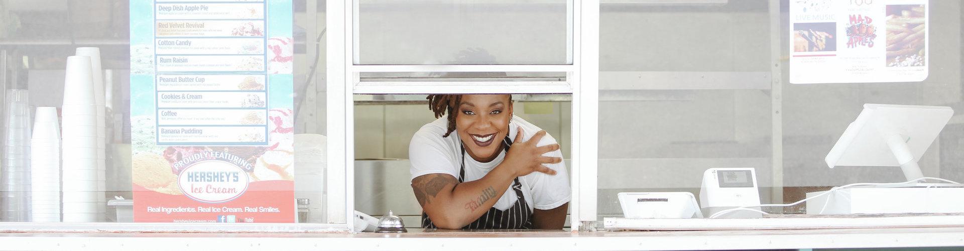 woman look on a window